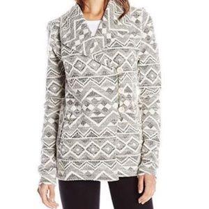 Lucky Brand Aztec Tweed Sweater Moto Jacket Black